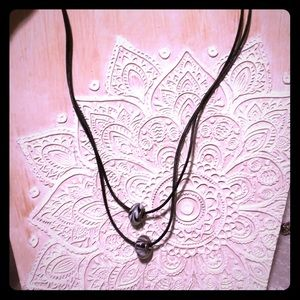 Pandora leather necklace rope and two charms